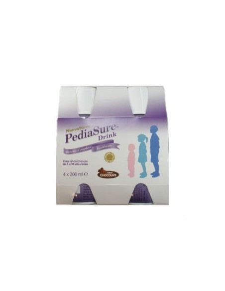 PediaSure Drink Chocolate Botellas Complemento Alim, 4Ud x 200ml