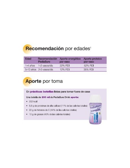 PediaSure Drink Vainilla Botellas Complemento Alim, 4Ud x 200ml