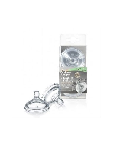 Tommee Tippee Tetina Silicona Flujo Lento 0M+, 2Ud