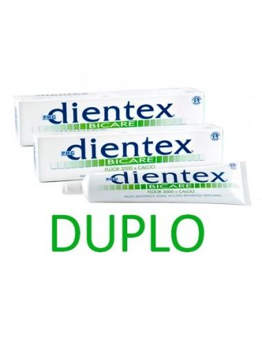 Phergal Dientex Bicare Fluor 3000 + Calcio DUPLO Pasta dentífrica Anticaries, 2x 125ml