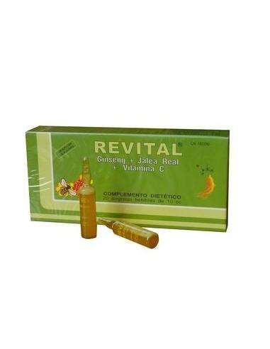 Revital Jalea Real + Vitamina C + Ginseng Ampollas Bebibles, 20 Viales
