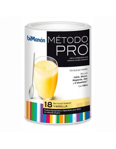BiManan Método PRO Batido de Vainilla Dieta Hiperproteica, 18 sobres x 30g