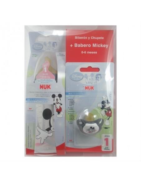 PACK Nuk Biberón Plástico Disney T-1 0-6 meses Látex M (Leche), 300ml + Chupete + Babero Mickey