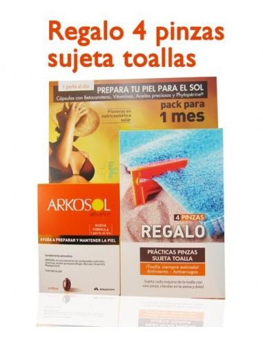 Arkosol Advance Activador del Bronceado, 30 Perlas + REGALO 4 Pinzas sujeta toalla