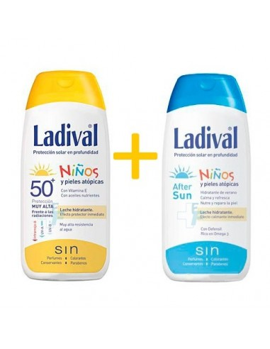 Ladival Niños Leche fotoprotectora SPF 50+ Pieles atópicas, 200ml + Regalo After Sun, 200ml