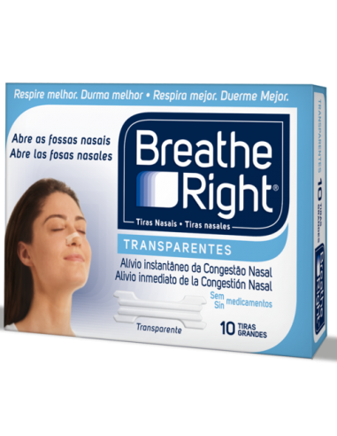 Breath Right Tiras Nasales Transparentes Mediana/Grande, 10Ud