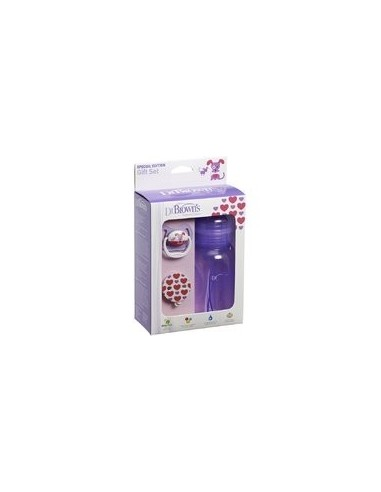 Dr Brown´s Set de Regalo morado Biberón 240ml, Chupete Prevent y broche Dr. Brown's