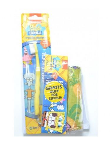 Kin Pasta Dentífrica Infantil Bob Esponja Sabor fresa, 50ml + Cepillo de dientes + REGALO Buff