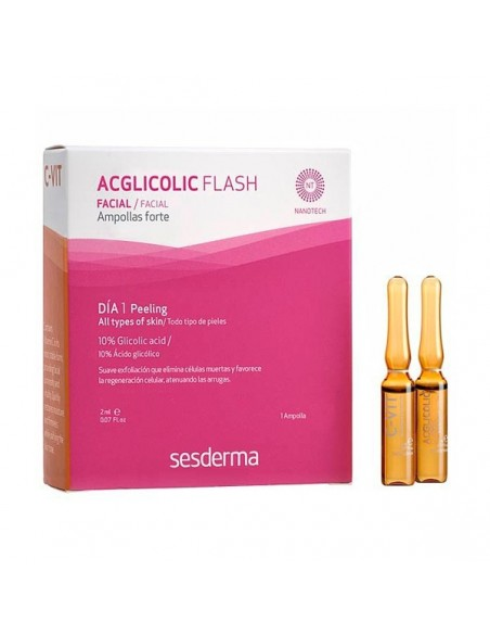 Sesderma Acglicolic Flash, 1 ampolla + C-Vit Flash Serum, 1 ampolla