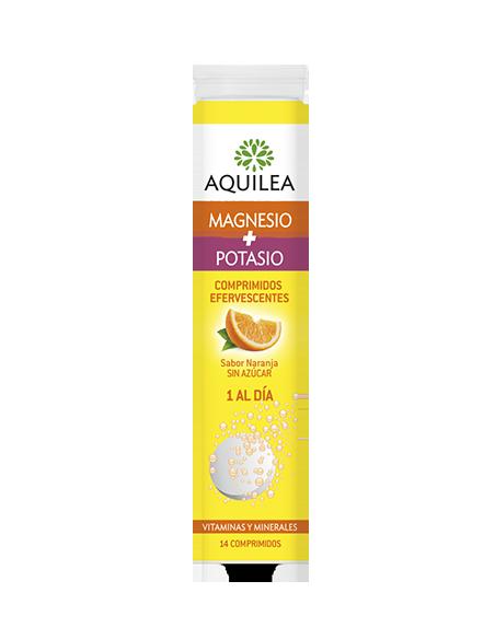 Aquilea Magnesio + Potasio Efervescente sabor naranja, 14 Comprimidos