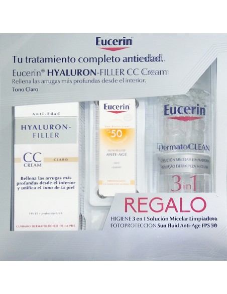 Eucerin Hyaluron-Filler CC Cream Tono Claro, 50 ml + REGALO Solucion Micelar 200ml + Protector Solar  Antiedad 5ml
