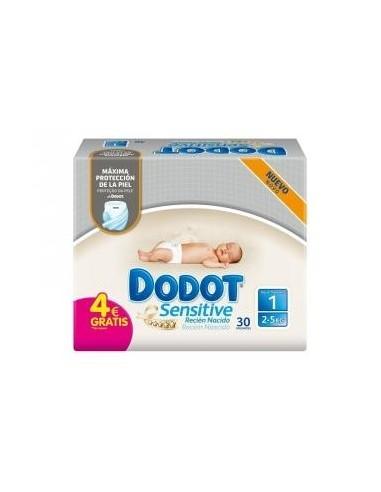 Dodot Sensitive Recién Nacido Talla 1 2-5kg, 30 Uds