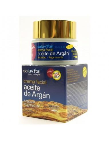 Saluvital Crema facial Aceite de Argán, 50ml + REGALO Crema Corporal 200ml y Espejo para bolso.