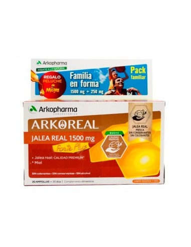 Arkopharma Pack familiar Jalea Real Forte 1500mg, 20 ampollas + jalea real 250mg, 20 ampollas