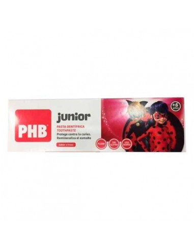 PHB Junior Pasta Dental 6-9 años Sabor Fresa, 75 ml