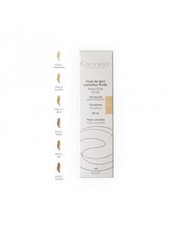 Avene Couvrance Maquillaje fluido corrector Tono Porcelana, 30ml