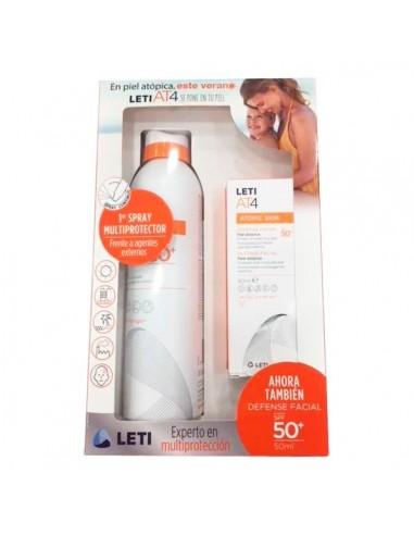 Leti AT-4 Pack Fotoprotector solar Spray50+, 200ml + Defense facial 50+, 50ml