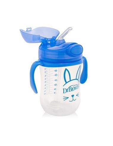 Dr Brown Vaso con Pajita 12+ meses Azul, 270 ml