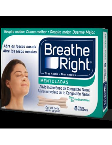Breathe Right Tiras Nasales Mentoladas Grandes, 8uds