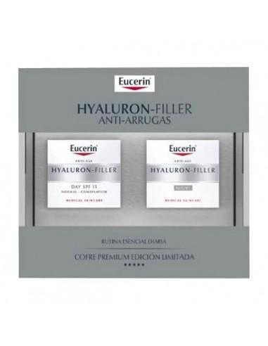 Eucerin Hyaluron-Filler Anti Arrugas Crema de dia piel seca, 50ml + Hyaluron-Filler Noche, 50ml