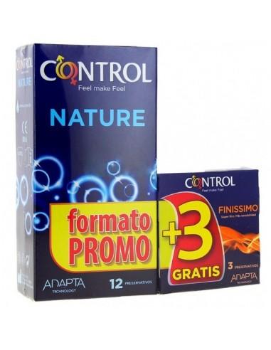 Control Preservativos Adapta Nature, 12Ud + REGALO Finissimo, 3 Ud
