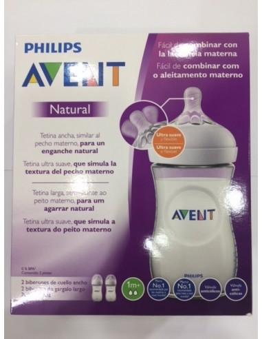 Philips Avent Biberón Natural Tetina +1m Flujo Recién Nacido, 260 ml 2 ud