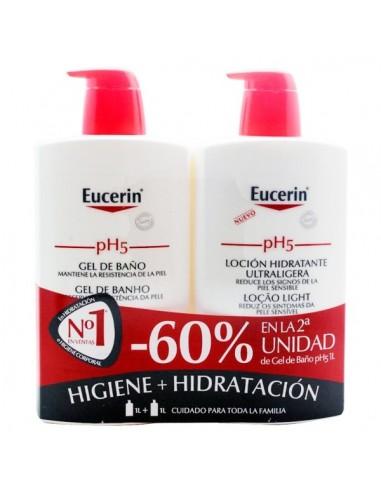 Eucerin pH5 PACK Gel de baño, 1000ml + Loción hidratante, 1000ml