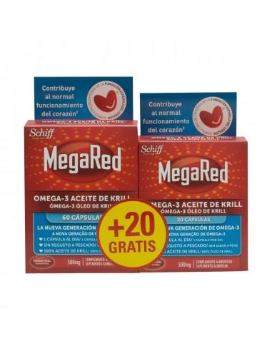Megared 500mg Omega 3 Aceite de Krill, 60 Caps + REGALO 20 Capsulas