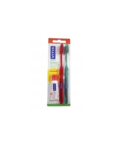 DUPLO Vitis Cepillo Dental Suave Acces + REGALO Pasta Dentífrica, 15ml