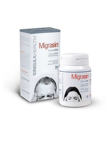 SingulaHealth Migrasin Enzima DAO Prevención Migraña, 30Cápsulas