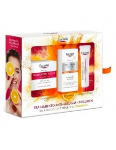 Eucerin Pack Hyaluron-Filler Volume Lift Piel Seca, 50 ml +Vitamin C Booster, 8 ml+ Contorno de Ojos, 15 ml