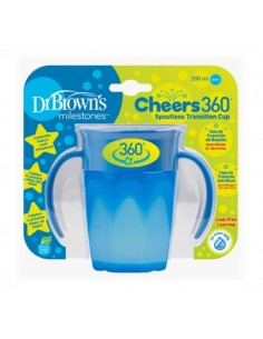 Dr Browns Cheers 360 Vaso de transición sin boquilla con asas Azul 200 ml