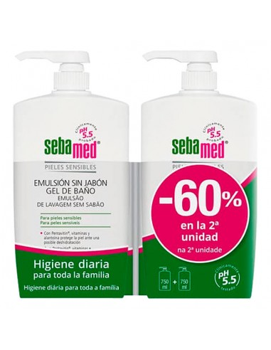 Pack Sebamed Emulsión Sin Jabón  Gel de Baño 2 x 750 ml