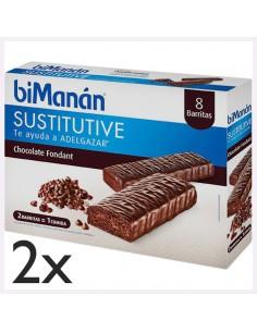 Pack Bimanán Sustitutive Barritas Sabor Chocolate Negro Fondant, 2 x 8 barritas