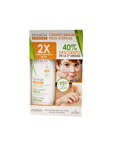 A-Derma Exomega Control Crema Emoliente, 2 x 400 ml