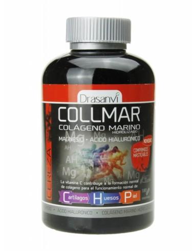 Collmar Colageno Marino + magnesio + ácido hialurónico sabor Cereza 180 Comprimidos  masticables