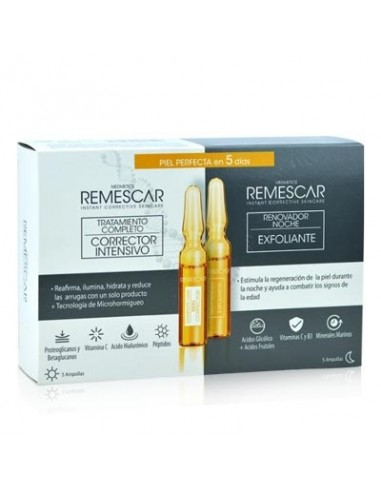 Remescar Tratamiento Corrector Intensivo , 5 ampollas  + Remescar Renovador Noche Exfoliante , 5 ampollas