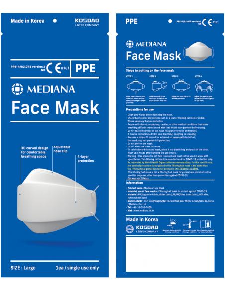 Mediana Mascarilla Higiénica Coreana FPP2 con Diseño Curvo 3D 1 Unidad