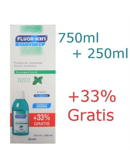 Fluor Kin Enjuague Bucal Anticaries, 750ml + 250ml