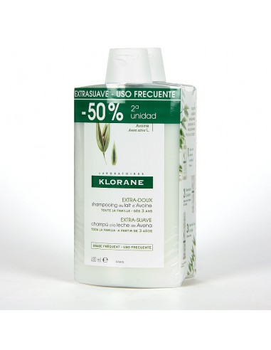 Klorane Champú Extra Suave Avena 2 x 400 ml