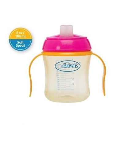 Dr Brown´s Taza Educativa +6 meses Antigoteo Boquilla Blanda, 180ml