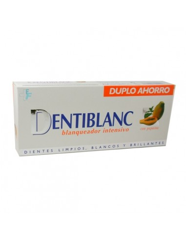 Dentiblanc Duplo Blanqueador intensivo Pasta dental con papaína, 2x 100ml