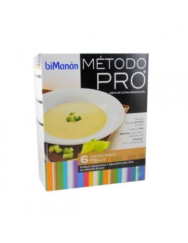 BiManan Crema de Pollo Dieta Hiperproteica Método PRO, 6 sobres x 30g