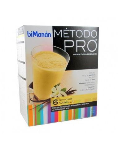 BiManan Batido de Vainilla Dieta Hiperproteica Método PRO, 6 sobres x 30g