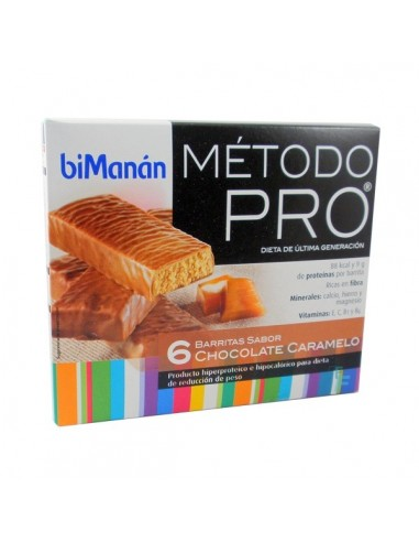 BiManan Barritas Sabor Chocolate Caramelo Dieta Hiperproteica Método PRO, 6 Ud x 27g