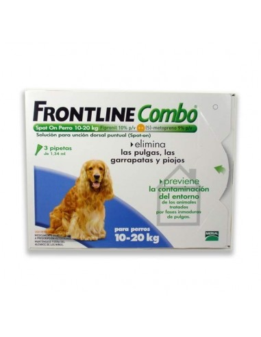 Frontline Combo Antiparasitario Spot On Perro 10-20kg, 3 pipetas x1.34ml