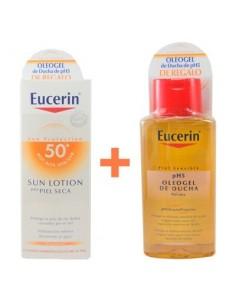 Eucerin Sun Protection Loción Solar Pieles Secas SPF50+, 150ml + REGALO Oleogel de Ducha 200ml